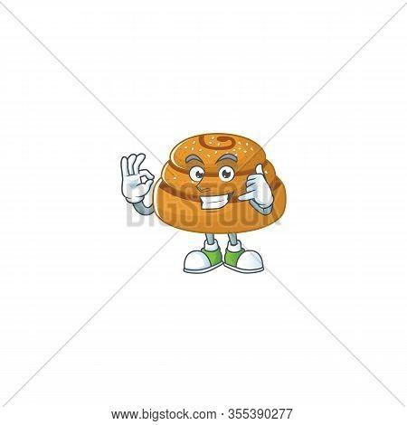 Call Me Funny Gesture Kanelbulle Mascot Cartoon Design