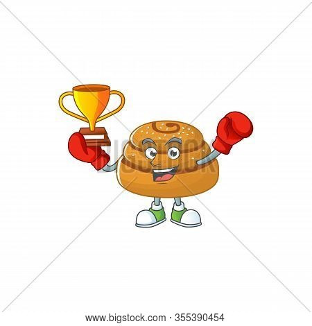 Happy Face Of Boxing Winner Kanelbulle In Mascot Design Style