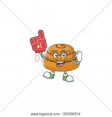 Kanelbulle Presented In Cartoon Character Design With Foam Finger