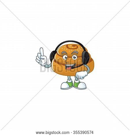 An Attractive Kanelbulle Mascot Character Concept Wearing Headphone