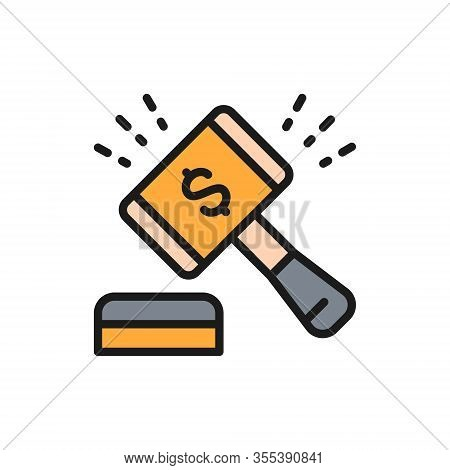 Auction Hammer, Gavel, Sales Of Company Stock Market Flat Color Line Icon.