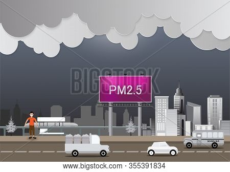 Sick Man Or Patient Is Walking Against Smog In The City Background. Fine Dust, Air Pollution, Indust