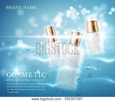 3D Elegant Cosmetic Bottle Container With Shiny Water Glimmering Background Template Banner.