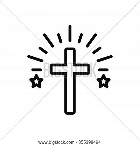 Black Line Icon For Cross Faith Mythology Belief Bible Catholic Christ Church Religion Ritual Christ