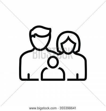 Black Line Icon For Family-with-baby Love Member Insurance Family Tribe People Ancestry Heritage Gen