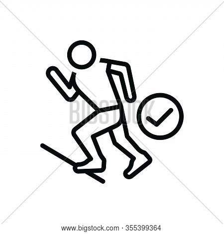 Black Line Icon For Ready Prepared Get-ready Athlete Run Start Steady Track