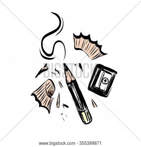 Hand Drawn Vector Pencil, Pencil Shavings And Sharpener.