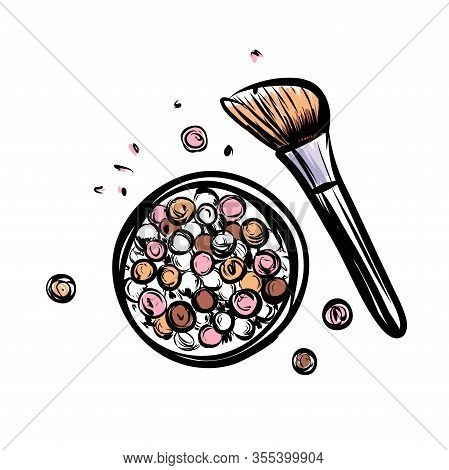 Hand Drawn Vector Blush. Make Up Object On White Background.