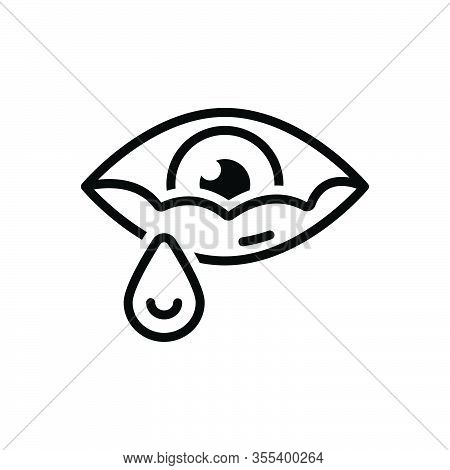 Black Line Icon For Tear Teardrop Eyewater Watery Teary Grief Cry Drop Eyeball Hurt