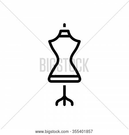 Black Line Icon For Dress-form Dress Mannequin Dummy Garment Habiliments Female Embroidery Fashion A