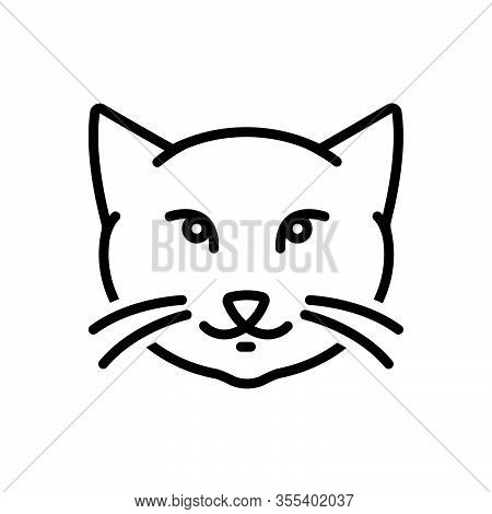 Black Line Icon For Kitty-cat Cat Kitty Cute Kitten Animal Domestic Adorable Face Little