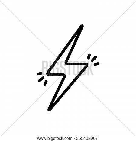 Black Line Icon For Lightening-bolt Lightening Bolt Shock Charge Electric Danger Flash Thunder Volta