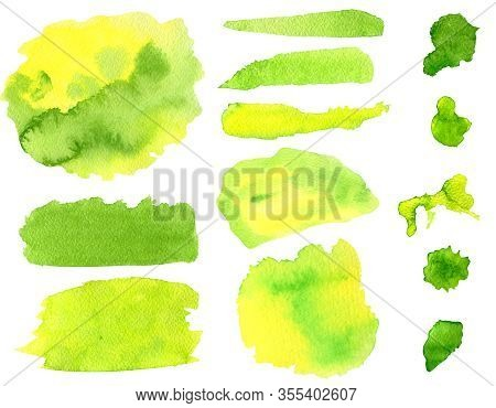 Watercolor Green And Yellow Brush Strokes And Smears Set. Hand Drawn Colorful Aquarelle Stripes And