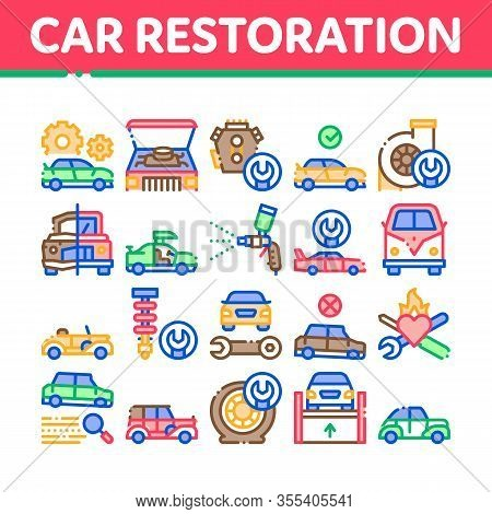 Car Restoration Repair Collection Icons Set Vector. Classic And Crashed Car Restoration, Painting Bo