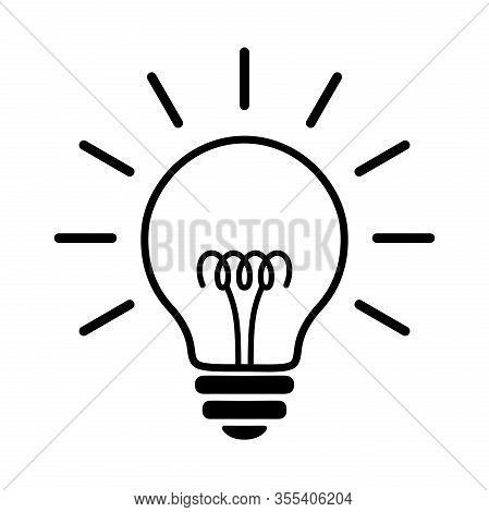 Light Bulb Line Flat Icon. Incandescent Electric Lamp With Spiral And Rays, Simple Black Pictogram.