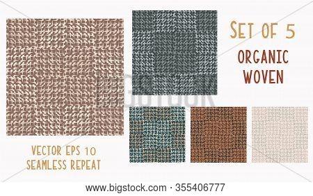 Hand Drawn Woven Linen Texture Seamless Pattern. Vector Doodle Organic Criss Cross Weave Marks Backg