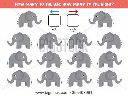 How Many Elephants Go To The Left And How Many To The Right. Logical Game For Kids.
