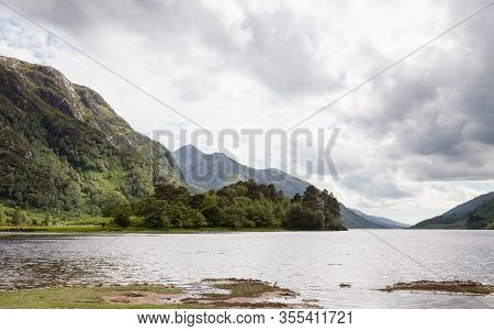 Loch Sheil.  The View Across Loch Sheil From Glenfinnan In The Scottish Highlands.  Loch Sheil Is A