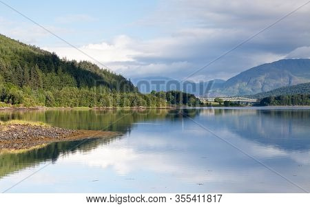 Loch Leven.  The View Across Loch Leven From Ballachulish Towards Ballachulish Bridge In The Scottis