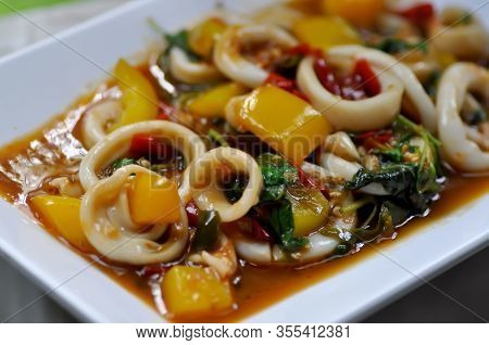 Stir Fried Squid, Fried Squid With Vegetable