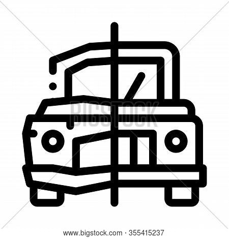 Crashed And Fixed Icon Vector. Outline Crashed And Fixed Sign. Isolated Contour Symbol Illustration