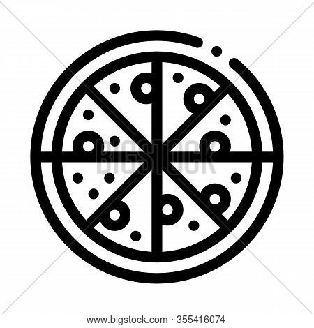 Pizza Italy Meal Icon Vector. Outline Pizza Italy Meal Sign. Isolated Contour Symbol Illustration