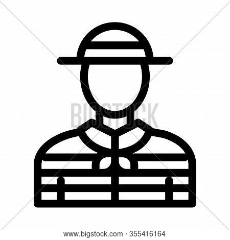 Gondolier Human Icon Vector. Outline Gondolier Human Sign. Isolated Contour Symbol Illustration