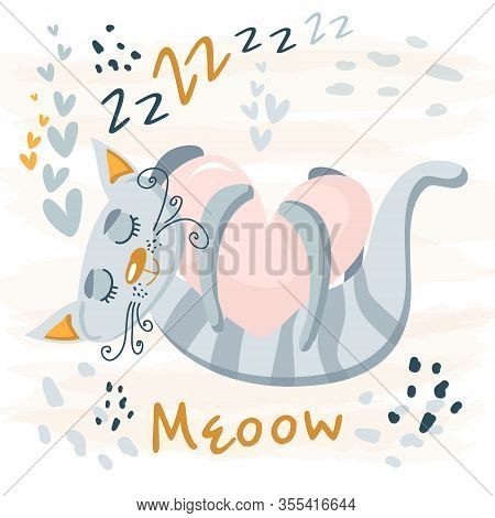 Sleeping Grey Cute Cat Baby Animal. Nursery Vector Cartoon Sleep Animal Cat, Cute Print Illustration