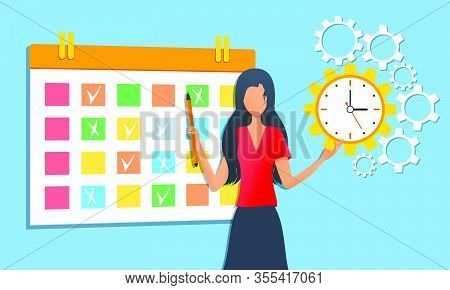 Vector Illustration, Businesswoman Organizing Daily Routine Using Schedule Calendar, Effective Time