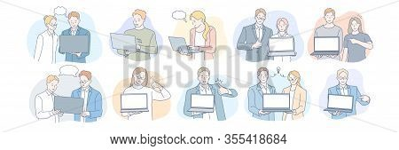 Businesspeople With Laptops Set Concept. Team Of Business Men And Businesswomen Clerks With Laptops