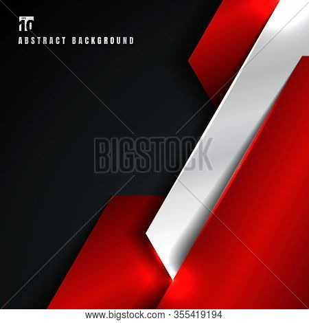Abstract Red And Silver Metallic Metal Geometric Overlapping Layer On Black Background. Technology S