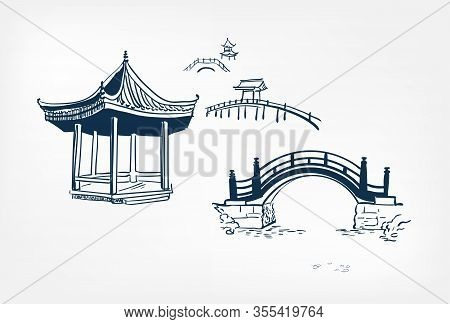 Alcove Bridge Vector Sketch Illustration Japanese Chinese Oriental Line Art Design Elements
