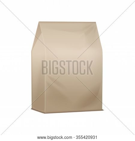 Vector Brown Mock Up Pack. Blank Cardboard Take Away Lunch Package. Packaging For Sandwich, Food, Ot