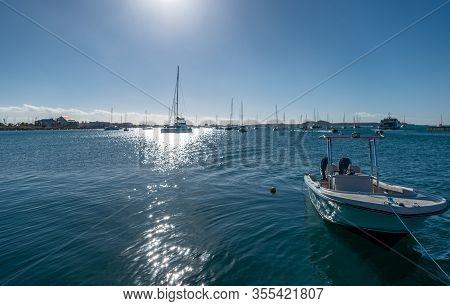 Caribbean Islands, St Maarten, Backlight Of Marigot Bay With Leisure Boats