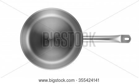 Frying Pan Stainless Kitchenware Top View Vector. Aluminium Flat-bottomed Frying Pan Restaurant Equi