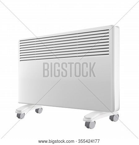 Electricity Heater Convector Equipment Vector. House Room Heating Convector With Wheels Electric Dev