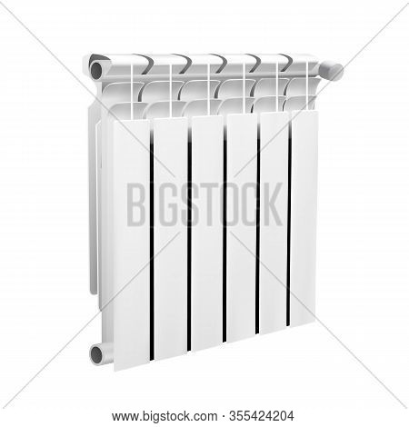 Modern Wall Heating Radiator Warming System Vector. Domestic Or Office Aluminium Radiator With Therm