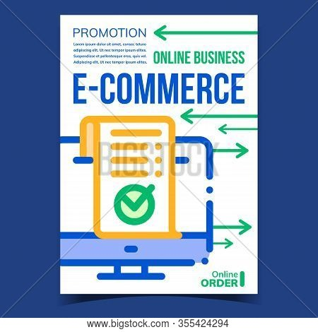 E-commerce Online Business Promotion Banner Vector. E-commerce Receipt Or Report With Approved Mark