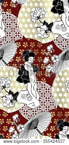 Geisha Girl Fan Umbrella Kimono Circles Japanese Chinese Vector Design Pattern Blue Red