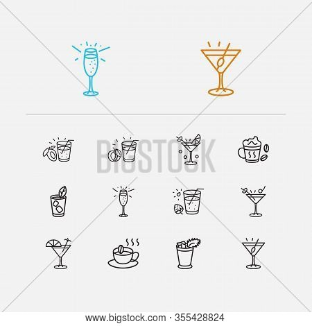 Beverage Icons Set. Martini With Olive And Beverage Icons With Liquor, Champagne And Martini. Set Of