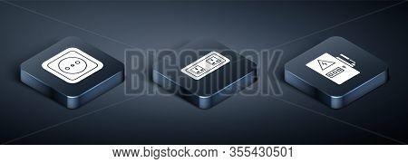 Set Isometric Electrical Outlet, Electrical Panel And Electrical Outlet Icon. Vector