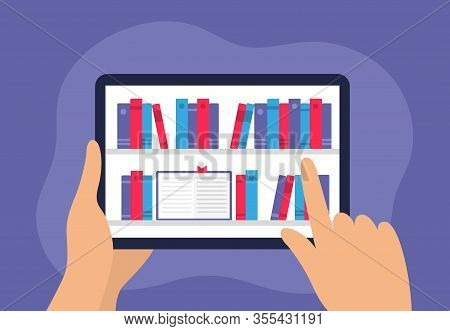 Human Choosing A Book In Digital Library On An Electronic Device. Hands Holding Tablet With Many E-b