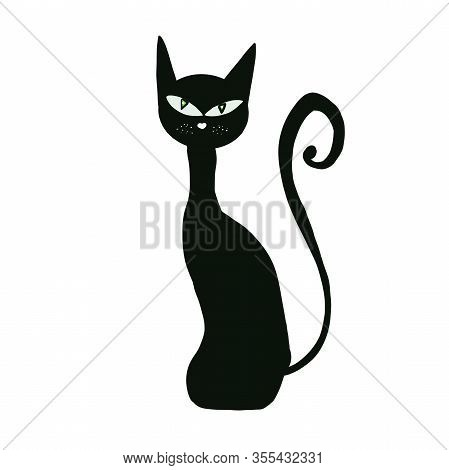 Black Cat Isolated On White Background. Cartoon Hand Drawing. Halloween Design. Witchcraft. Magic