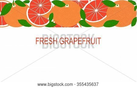 Vector Fresh Red Grapefruit Template. Healthy Eating With Fruits For A Healthy Lifestyle.