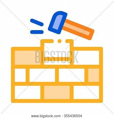 Installing Brick Icon Vector. Outline Installing Brick Sign. Color Isolated Contour Symbol Illustrat
