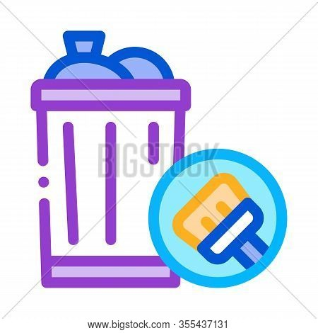 Rubbish Trash Can Icon Vector. Outline Rubbish Trash Can Sign. Isolated Contour Symbol Illustration