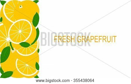 Vector Fresh Grapefruit Template For Healthy Lifestyle.