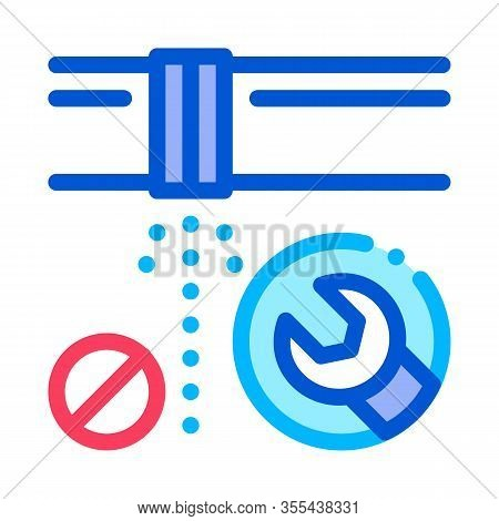 Pipe Punch Fix Icon Vector. Outline Pipe Punch Fix Sign. Isolated Contour Symbol Illustration