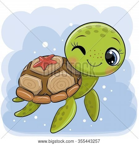 Cute Cartoon Water Turtle On A Blue Background