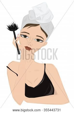 Young Lady With Towel In Hair Doing Morning Make Up. Staring At Herself